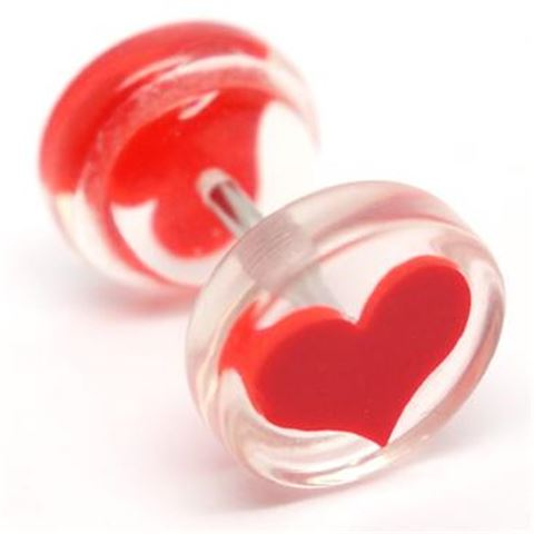 Acrylic Fake Plug RED HEART