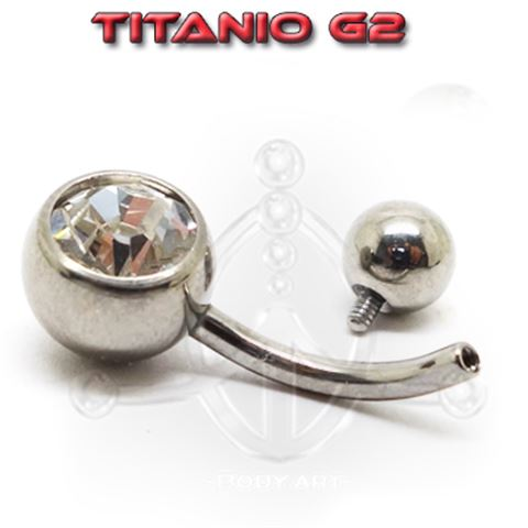 Titanium Jewelled Belly Bar Internal Thread