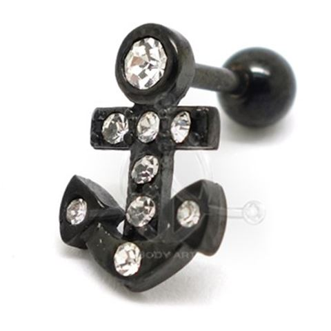 BLACK Jeweled ANCHOR Tragus