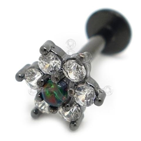 Black Labret Jeweled FLOWER