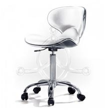 White-Wave rotary stool with backrest