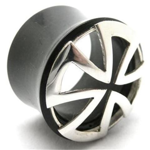 Horn Flesh Plug with silver-cross