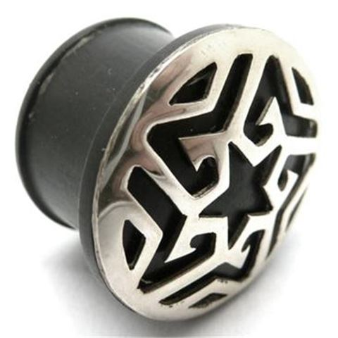 Horn Flesh Plug with silver Aztec-star