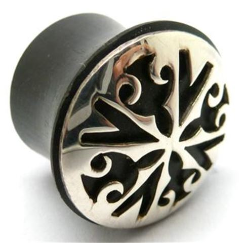 Horn Flesh Plug with Silver dark-aged Star