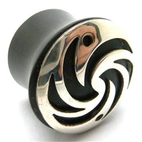Horn Flesh Plug with silver crest-of-wave